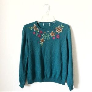 Vintage Teal Sweater with Quirky Knitted Flowers!